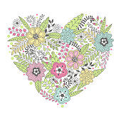 Cute heart shape made of flowers and leaves. Beautiful floral background. Use for card, greeting, invitation, wedding, party, hen-party, mother's day, valentine. Vector illustration