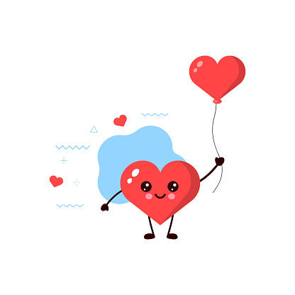 cute heart with Red heart balloon.vector