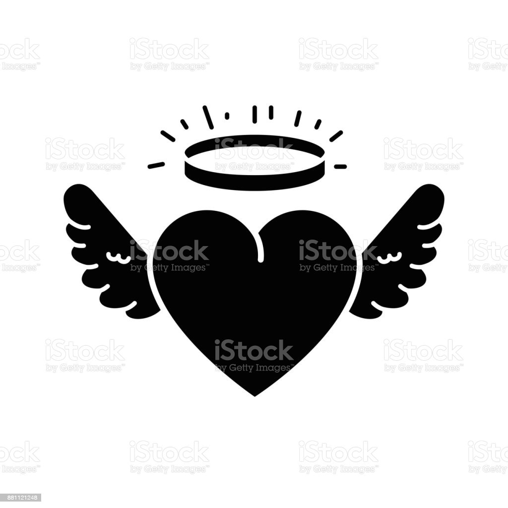cute heart with wings and halo vector art illustration