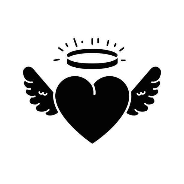 illustrazioni stock, clip art, cartoni animati e icone di tendenza di cute heart with wings and halo - aureola