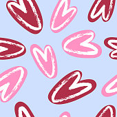 Cute hearts blue and pink trendy seamless pattern with texture. Applicable for paper or textile print, web and other backgrounds.