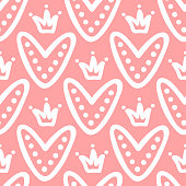 Cute hearts with crowns. Seamless pattern drawn by hand. Doodle, graffiti, sketch. Pink, white colour. Vector illustration.