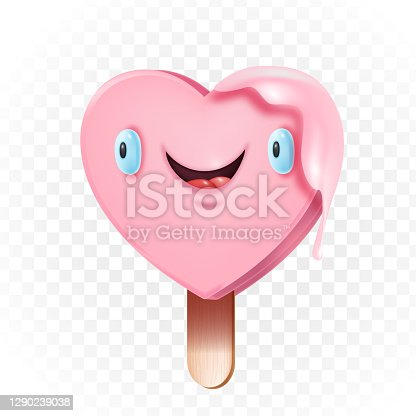Cute heart-shaped kawaii popsicle love illustration on wooden stick isolated on white.