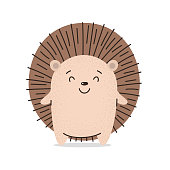 Cute hedgehog smiles. Flat hand drawn illustration kid's poster. Kavay prickly little hedgehog asks for a hug. Cartoon animal character set. For baby t-shirt print, kids wear, baby greeting card