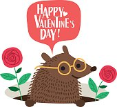Cute hedgehog Valentines day card. Romantic vector illustration.
