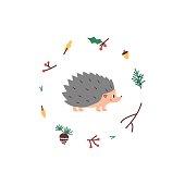Cute Hedgehog. Vector illustrtion. Minimalistic design, children s picture. Print for clothes, dishes etc