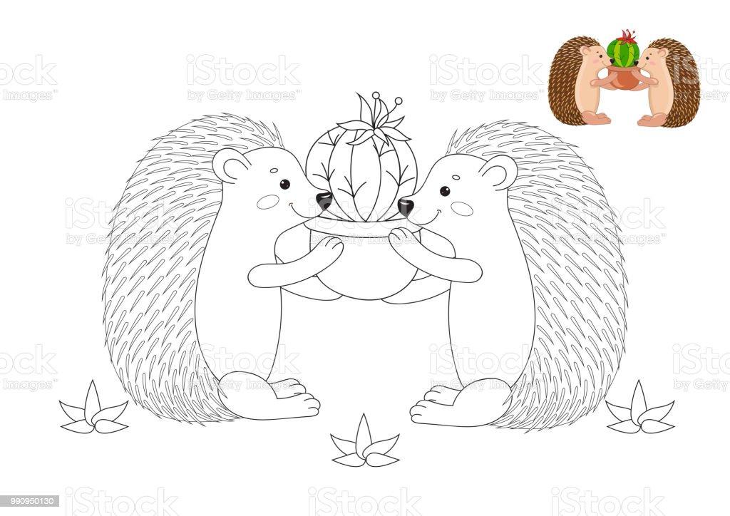 Ilustración de Lindos Erizos Con Cactus Página De Libro Para ...