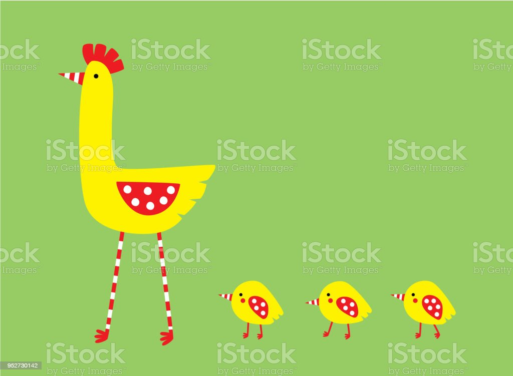 Cute Hen And Chicken Baby Wallpaper Vector Royalty Free