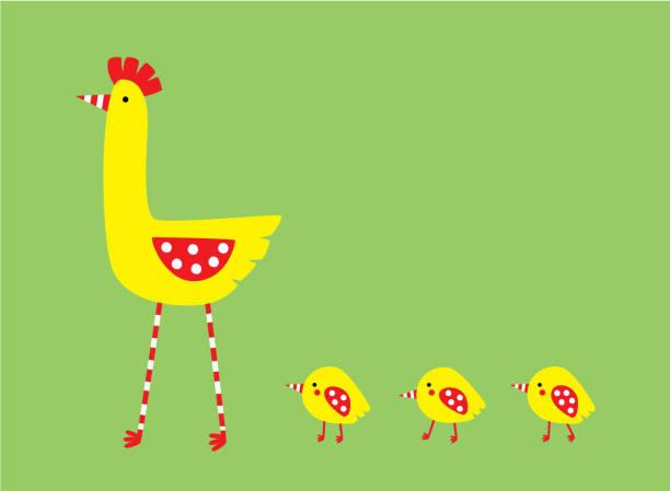 niedliche Henne und Hühner Baby Wallpaper Vektor – Vektorgrafik