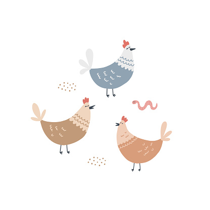 Cute hens and a worm in the barnyard. Hand drawn vector illustration for kids design