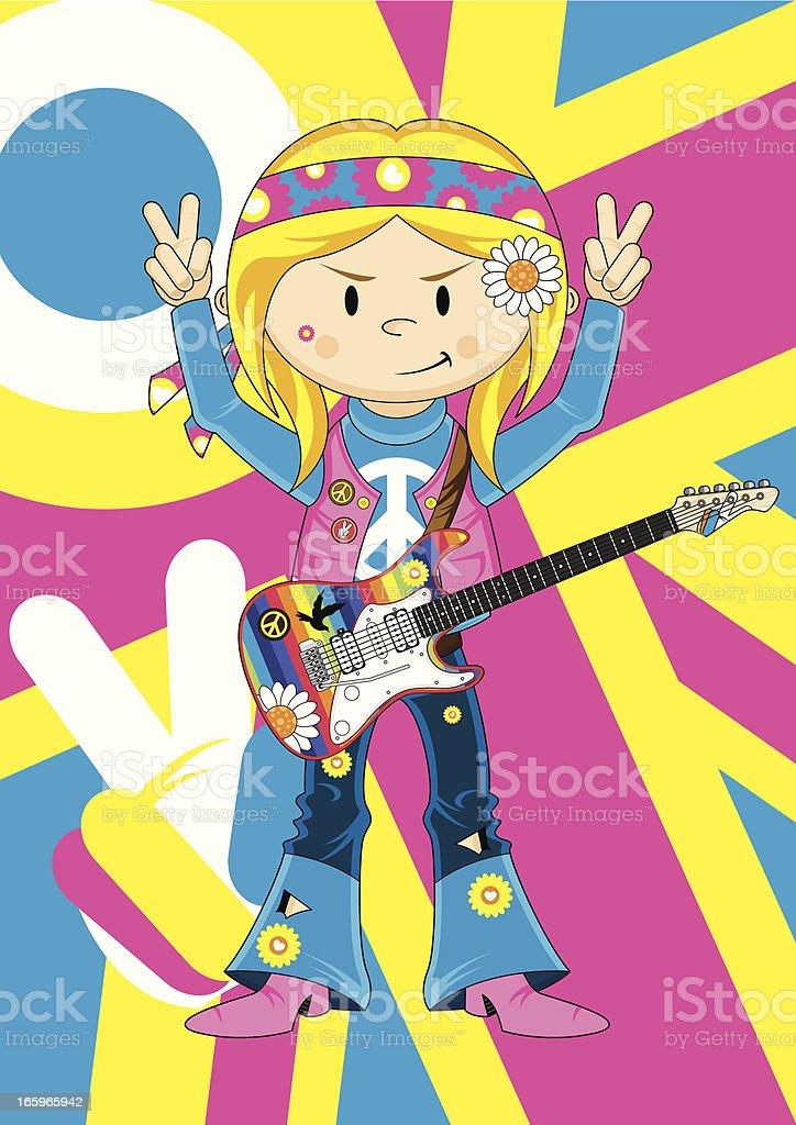 Cute Hippie Girl Guitarist vector art illustration
