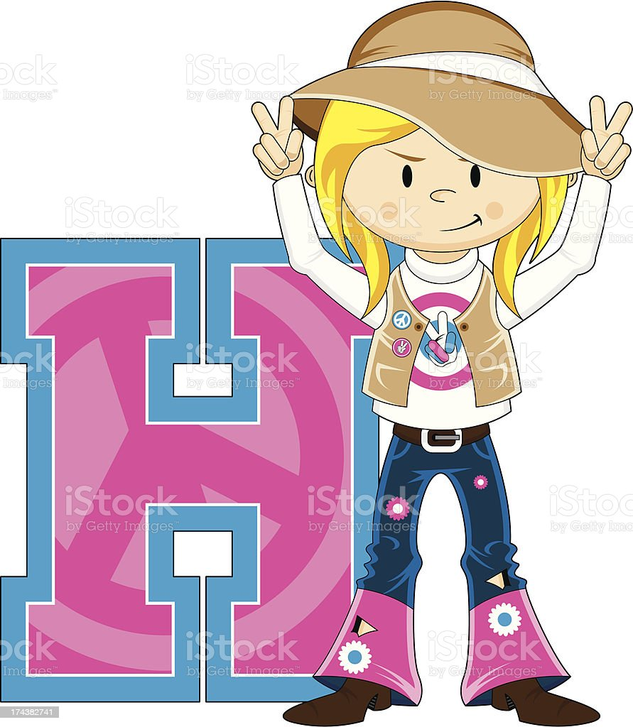 Cute Hippie Girl Learning Letter H royalty-free stock vector art