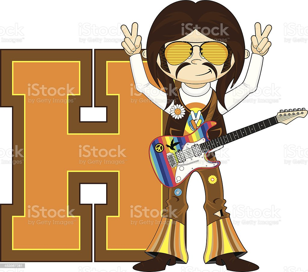 Cute Hippie Learning Letter H royalty-free cute hippie learning letter h stock vector art & more images of 1960-1969