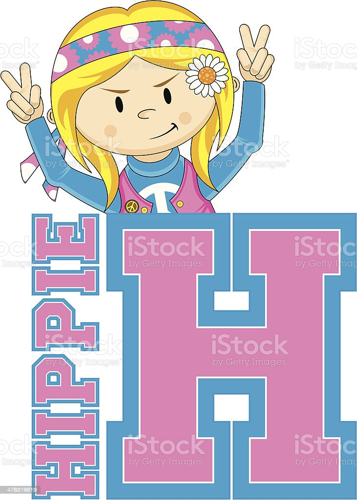 Cute Hippie Learning Letter H royalty-free stock vector art