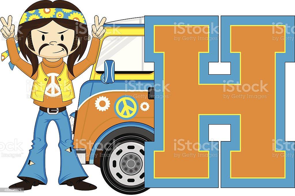 Cute Hippie & Van Learning Letter H royalty-free stock vector art