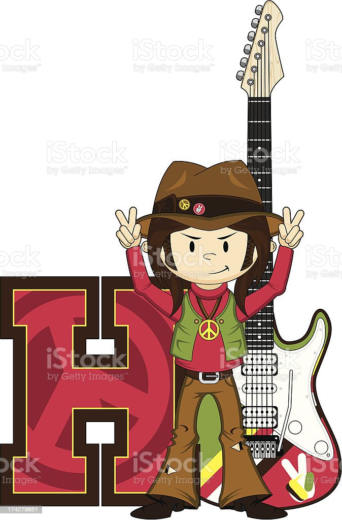 Cute Hippie with Guitar Learning Letter H royalty-free stock vector art