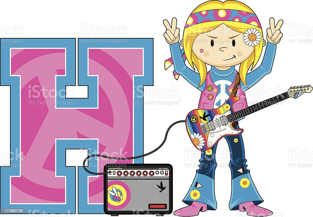 Cute Hippie with Guitar Learning Letter H vector art illustration