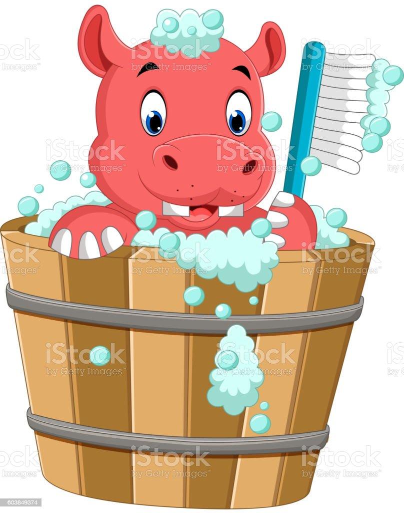 cute hippo bathing time vector art illustration