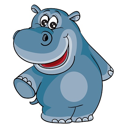 cute hippo character, cartoon illustration, isolated object on white background, vector illustration,