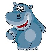 istock cute hippo character, cartoon illustration, isolated object on white background, vector illustration, 1299618313
