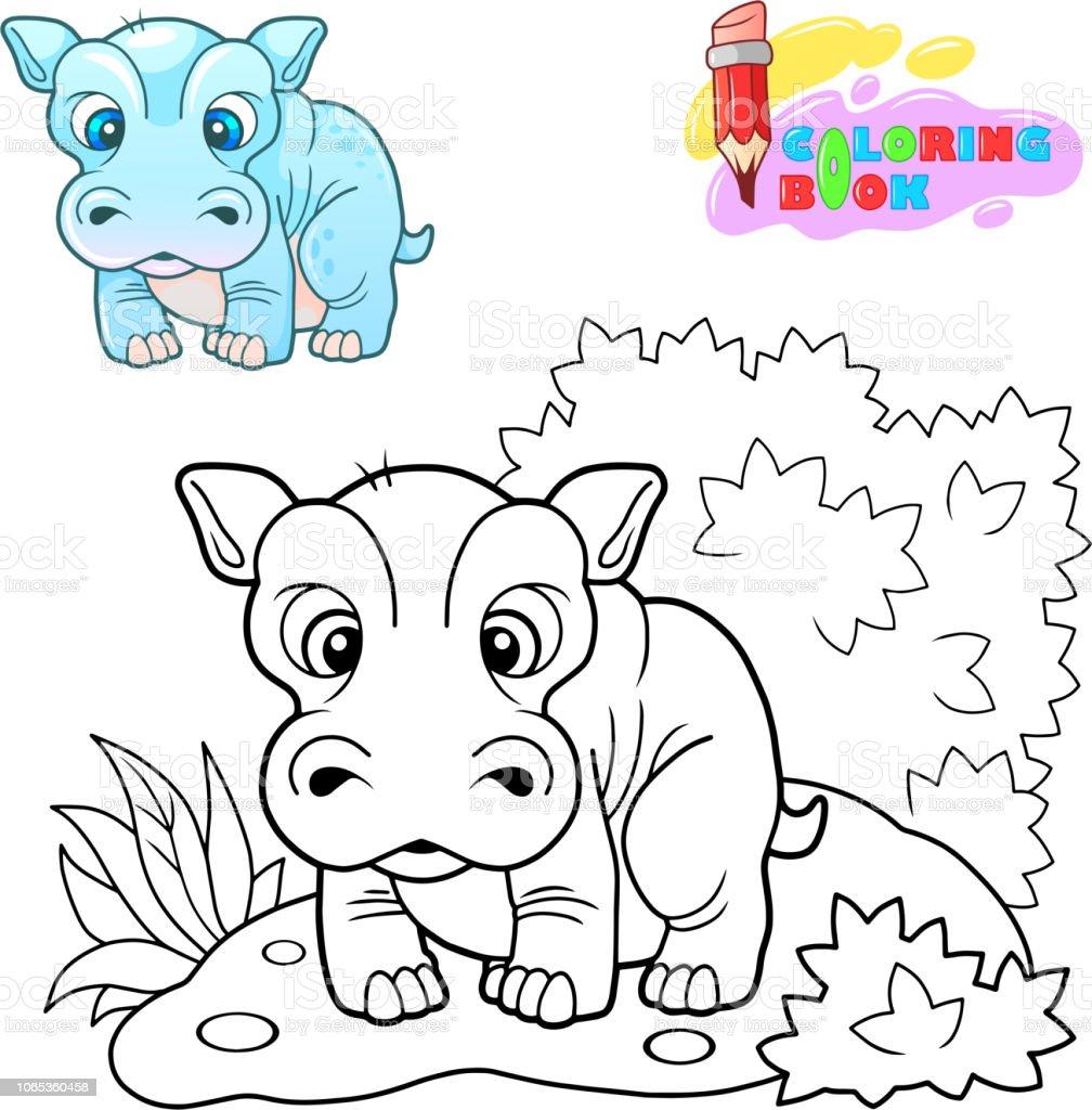 Coloriage Bebe Hippopotame.Mignon Hippone Illustration Drole Cahier De Coloriage Vecteurs
