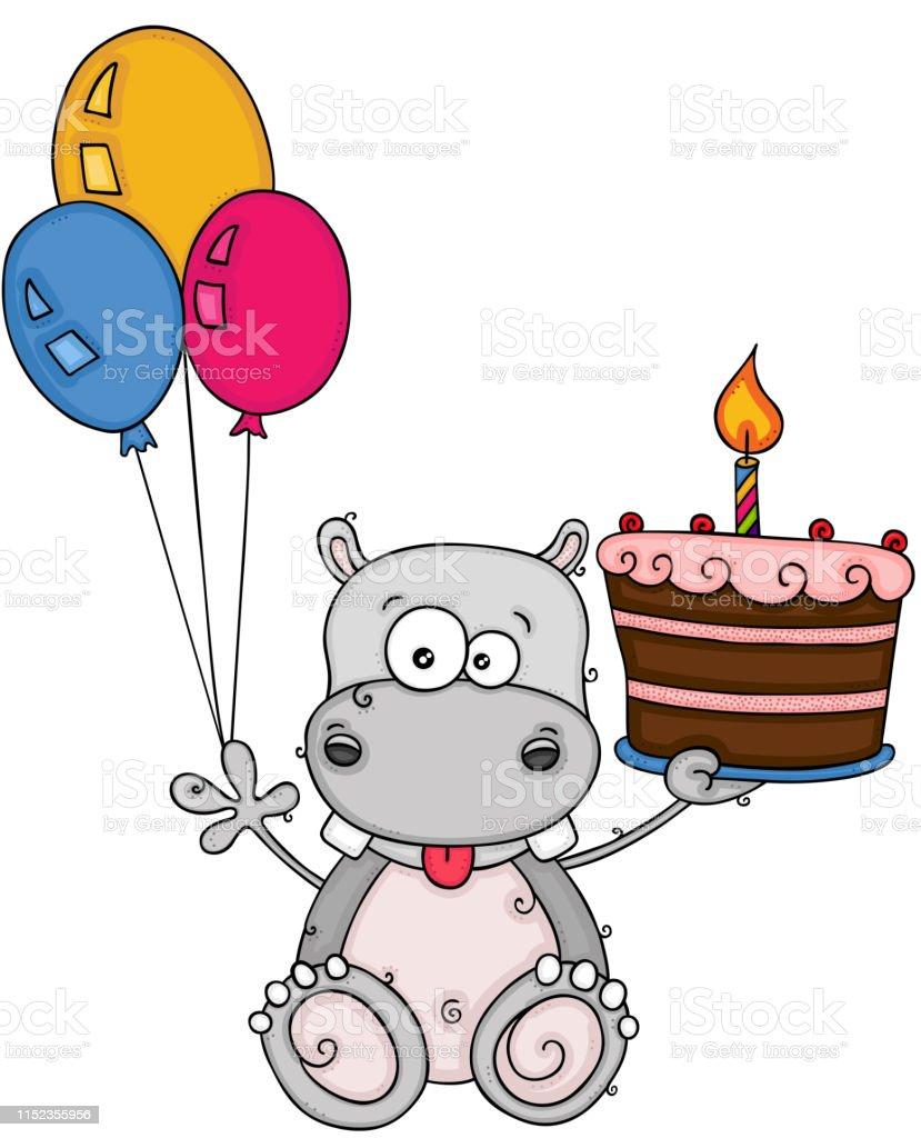 Awe Inspiring Cute Hippo Holding A Birthday Cake And Three Balloons Stock Personalised Birthday Cards Akebfashionlily Jamesorg
