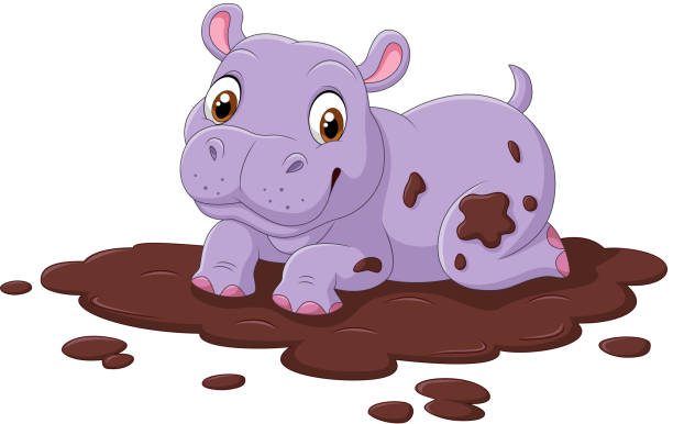 Royalty Free Cute Hippo In The Mud Clip Art, Vector Images ...