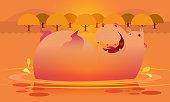 Cute hippo on the water background. Vector illustration