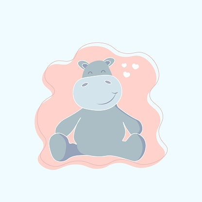 Cute hippo. vector illustration eps10