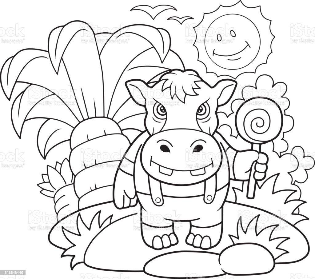 Coloriage Bebe Hippopotame.Livre De Coloriage Hippopotame Mignon Vecteurs Libres De Droits Et