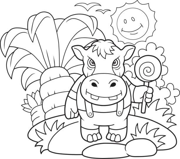 Vectores de Cría De Hipopótamo y Illustraciones Libre de Derechos ...