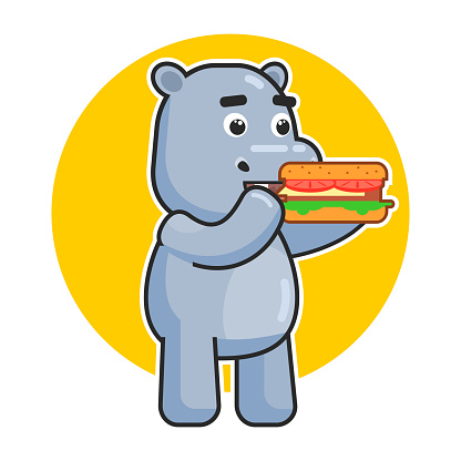 Cute hippopotamus eat hamburger