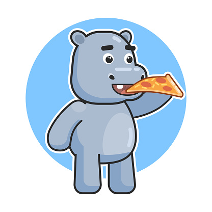 Cute hippopotamus eat pizza pie