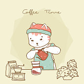 cute hipster cat barista in apron pouring drip coffee v 60, idea for greeting card, background, children stuff print, t shirt and nursery wallpaper