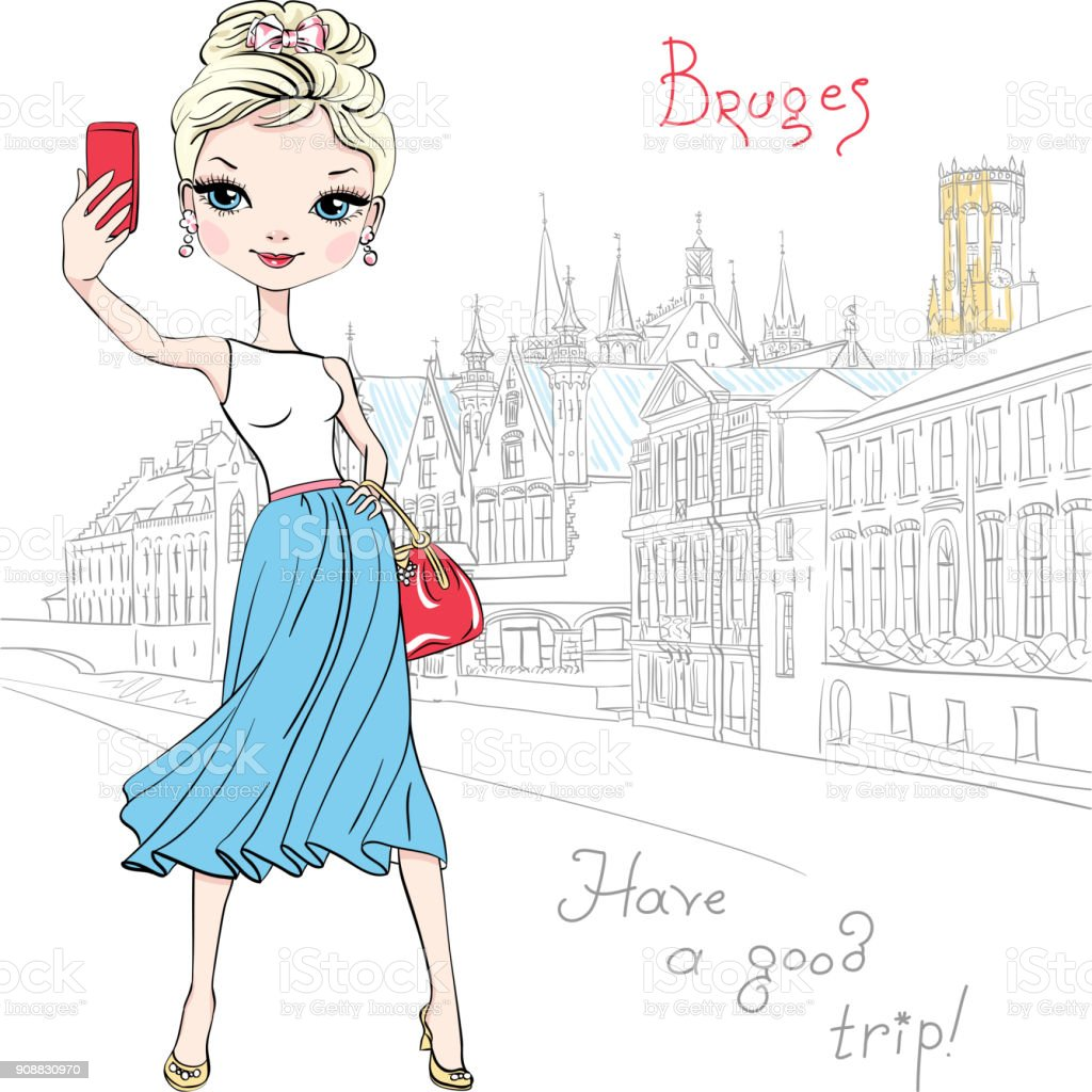 Cute hipster girl makes selfie in Bruges, Belgium vector art illustration