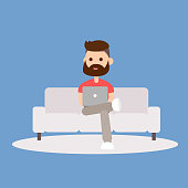 Young Cute hipster man sitting on the sofa working with laptop. Flat modern illustration in social networking.