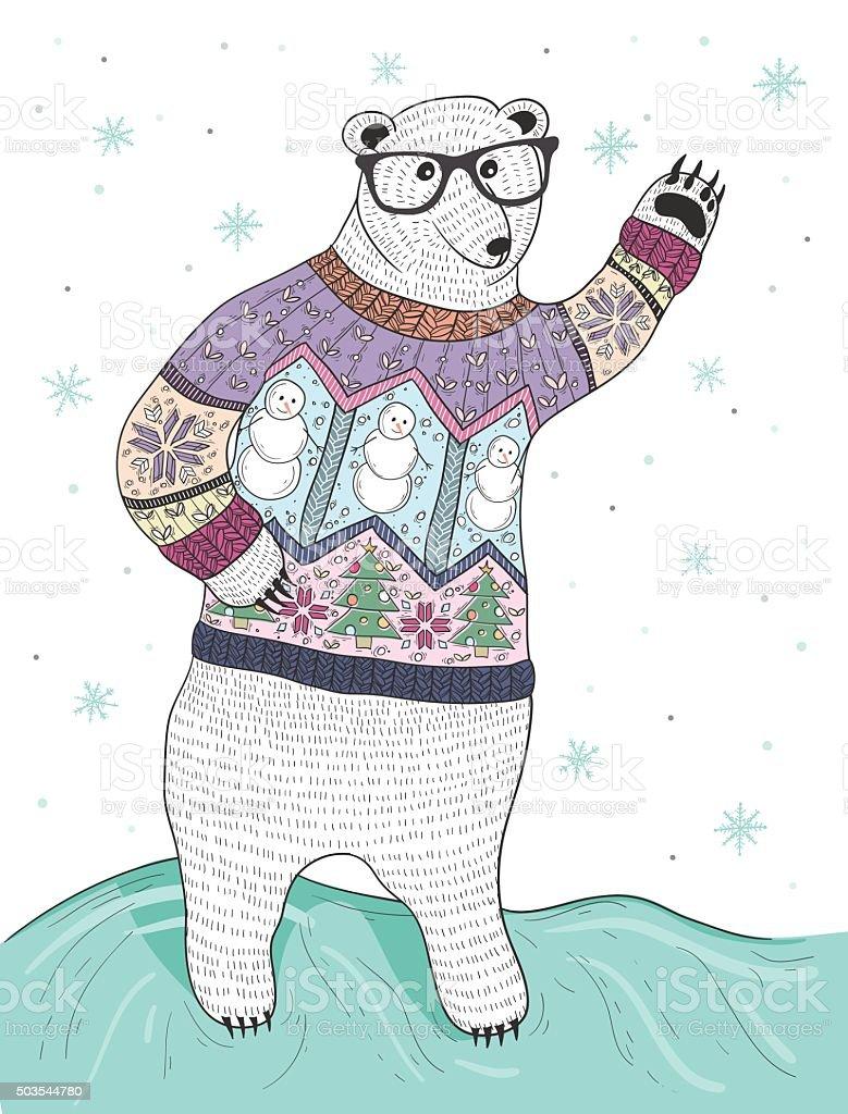 Orso Polare Carina Hipster Con Occhiali E Maglione Di Natale Immagini vettoriali stock e altre immagini di Albero