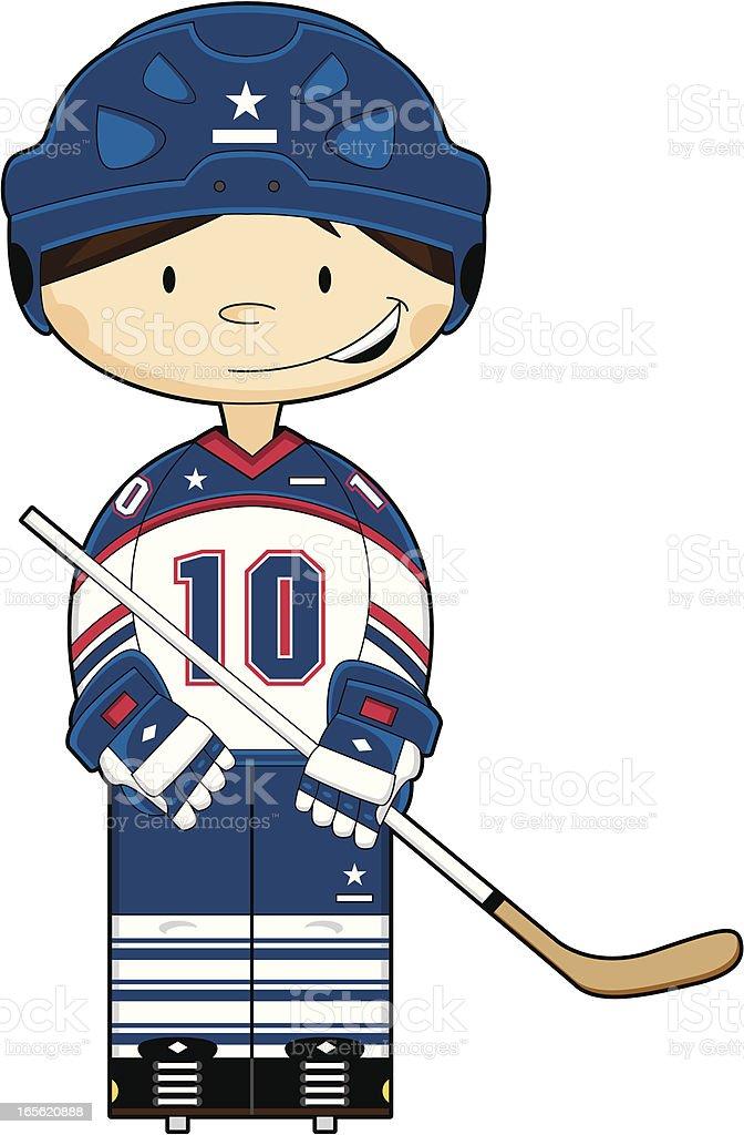 Cute Hockey Boy in Helmet royalty-free stock vector art