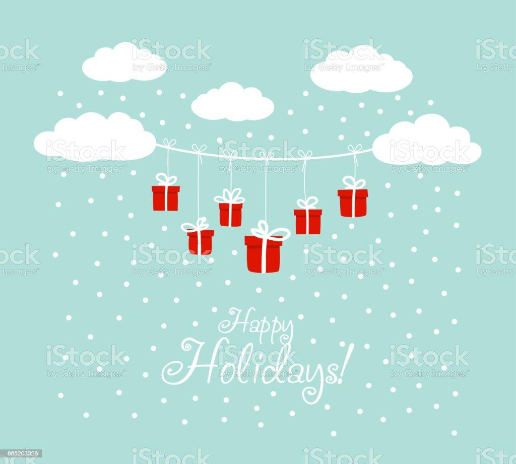 Süße Ferien Hintergrund Mit Blauer Himmel Wolken Und Geschenke ...