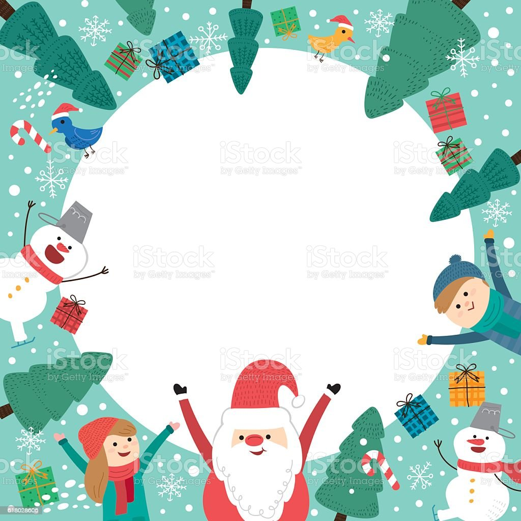 Cute Holiday Background With Boys And Girls. Merry Christmas Card  Royalty Free Cute Holiday