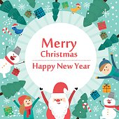 Cute holiday background with boys and girls. Merry Christmas