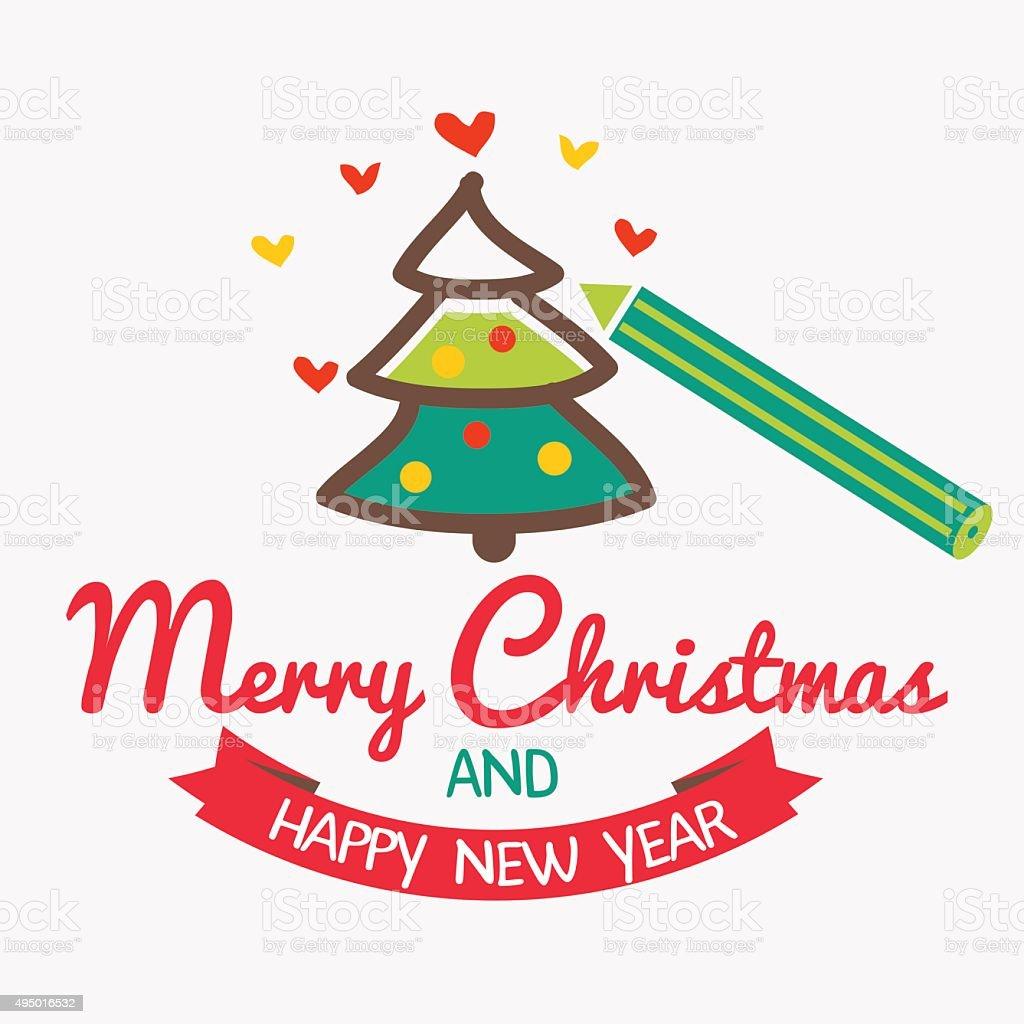 Niedliche Weihnachtskarte Mit Einem Bleistift Färben Christmas Tree ...
