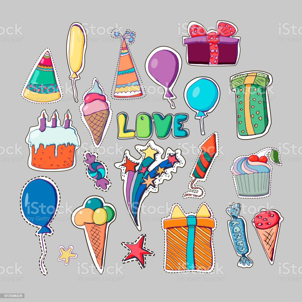 Cute holiday illustration. Vector hand drawn stickers set. Cakes, cupcakes, balloons, fireworks, cocktails, gift box, ice cream, candies, lollipops. Decorative patches for party. Pencil's drawing. vector art illustration