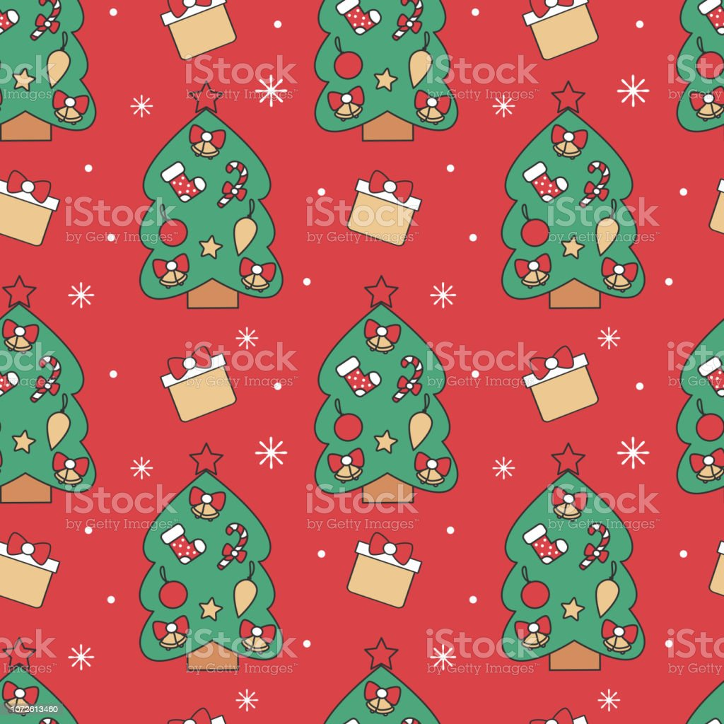cute holidays seamless vector pattern background illustration with christmas trees, gift boxes and snowflakes vector art illustration