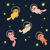 Cats in space. Cute home pets in helmets from spacesuits are flying between stars as astronauts and explorers. Fantasy in the night sky. Vector illustration.