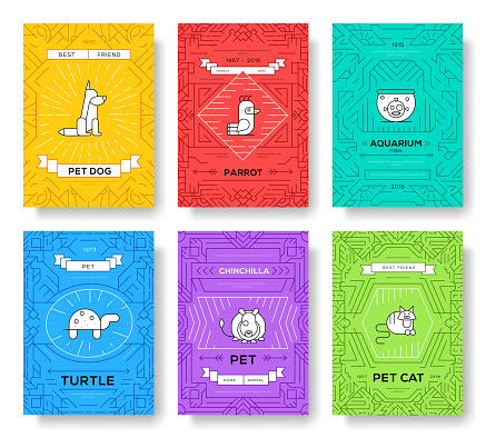 Cute home pets thin line brochure cards set. Animal template of flyer, magazines, posters, book cover, banners. Wildlife outline invitation concept background. Layout quality modern pages