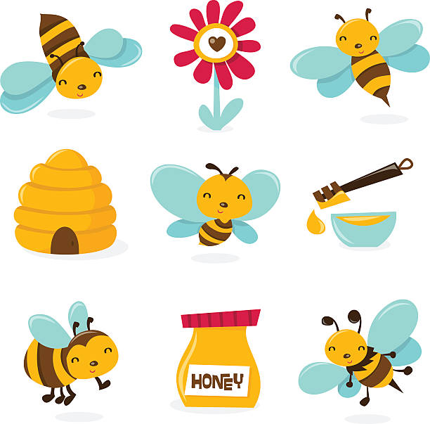 Cute Honey Bee Icons A vector illustration of various honey bee theme characters and icons. queen bee stock illustrations