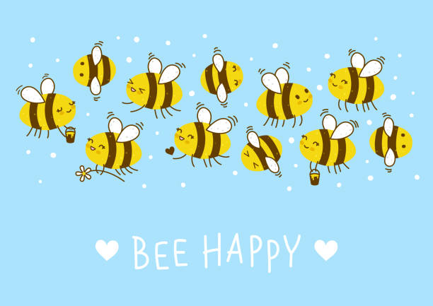 Cute honey bees border for Your kawaii design Cute honey bees with text on a blue bee borders stock illustrations