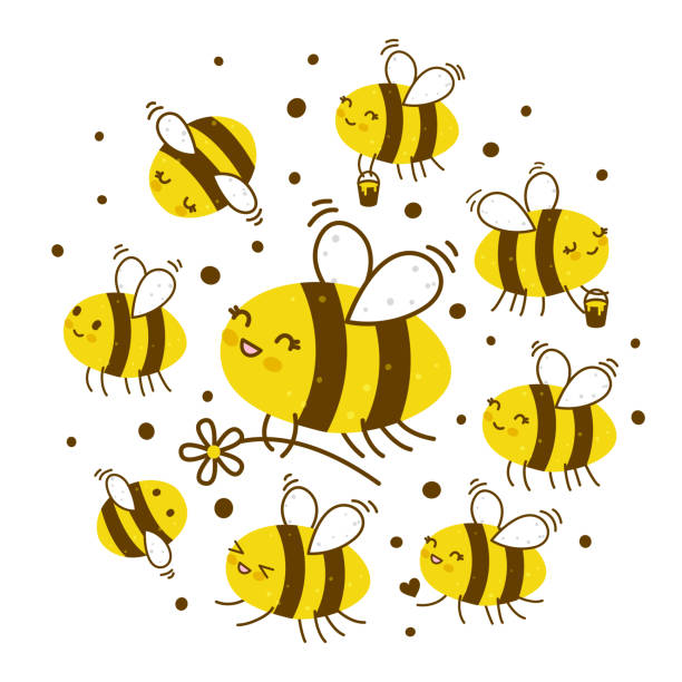 Cute honey bees isolated on white Roy of cute  honey bees isolated on white swarm of insects stock illustrations