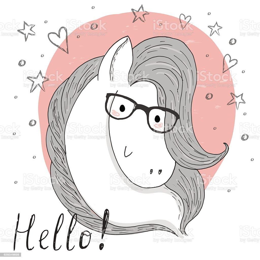 Cute Horse And Glasses Sketch Doodle Vector Illustration Stock Illustration Download Image Now Istock